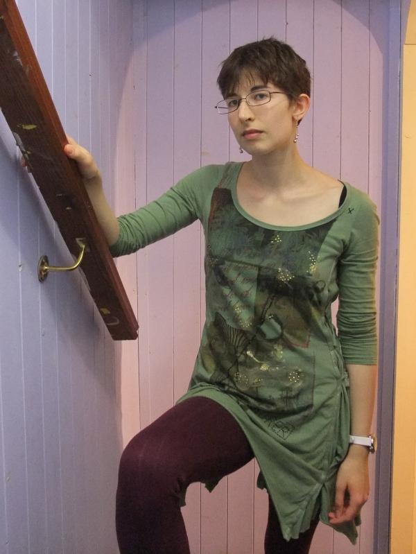Next tunic, maroon leggings